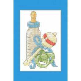 Wzór graficzny - Kartka okolicznościowa - Narodziny syna - Haft krzyżykowy