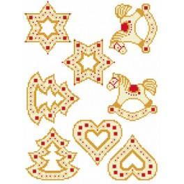 Wzór graficzny - Świąteczne zawieszki - Haft krzyżykowy