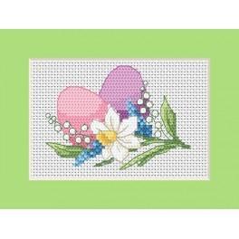 Wzór graficzny - Kartka wielkanocna – Kolorowe jajka - Haft krzyżykowy