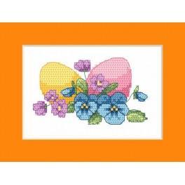 Wzór graficzny - Kartka wielkanocna - Wielkanocne jajka - Haft krzyżykowy