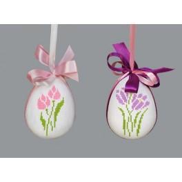 Wzór graficzny - Kwiatowa pisanka – Krokus i tulipan - Haft krzyżykowy