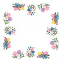 Wzór graficzny - Serwetka z motywami wiosennymi - Haft krzyżykowy
