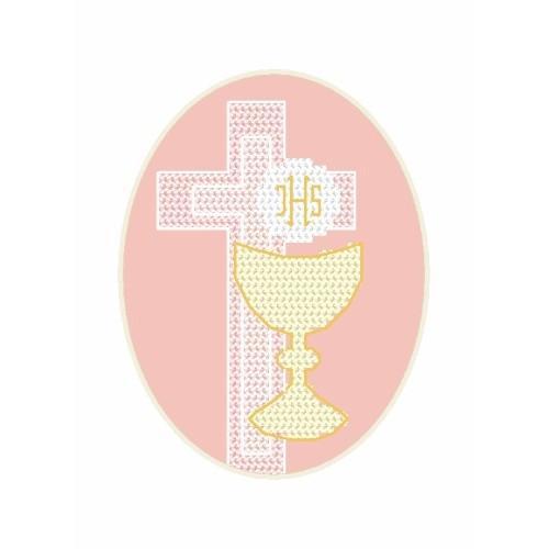 Wzór graficzny - I Komunia - Kartka - Hostia - Haft krzyżykowy