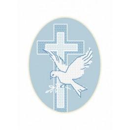 Wzór graficzny - Kartka - Gołąb - Haft krzyżykowy