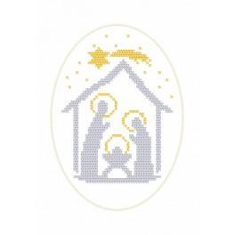 Wzór graficzny - Kartka Bożonarodzeniowa - Stajenka - Haft krzyżykowy
