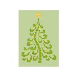 Wzór graficzny - Kartka Bożonarodzeniowa - Choinka - Haft krzyżykowy