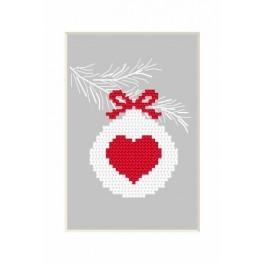 Wzór graficzny - Kartka Bożonarodzeniowa – Bombka z serduszkiem - Haft krzyżykowy