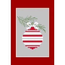 Wzór graficzny - Kartka Bożonarodzeniowa - Bombka na gałązce - Haft krzyżykowy