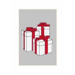 GU 8665 Wzór graficzny - Kartka Bożonarodzeniowa – Prezenciki - Haft krzyżykowy