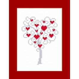 Wzór graficzny - Kartka - Drzewo serc - Haft krzyżykowy