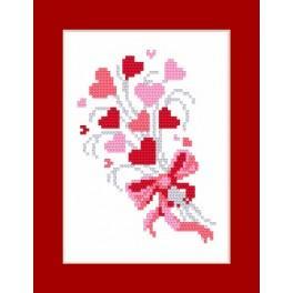 Wzór graficzny - Kartka - Z miłoscią - Haft krzyżykowy