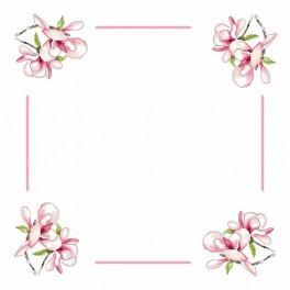Wzór graficzny - Serwetka z magnolią - Haft krzyżykowy