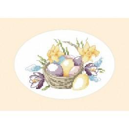 Wzór graficzny - Kartka wielkanocna - Koszyk jajek - Haft krzyżykowy