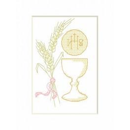 Wzór graficzny - Kartka komunijna – Kielich - Haft krzyżykowy