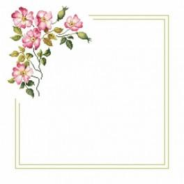 Wzór graficzny - Serwetka z dziką różą - Haft krzyżykowy