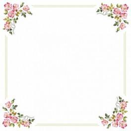 Wzór graficzny - Obrus z dziką różą - Haft krzyżykowy