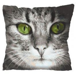 Wzór graficzny - Poduszka - Zielonooki kot - Haft krzyżykowy