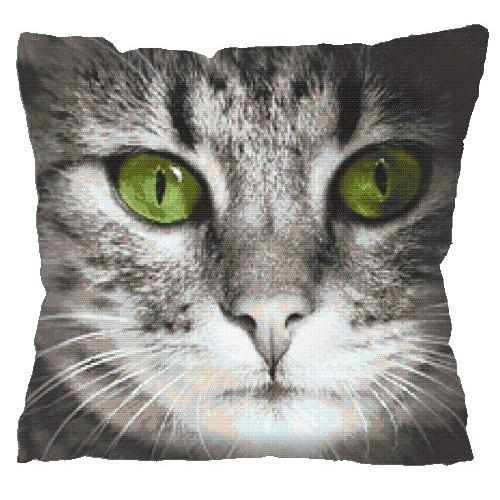 Wzór Graficzny Poduszka Zielonooki Kot Haft Krzyżykowy