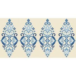 Wzór graficzny użytkowy - Pisanka - niebieska arabeska - Haft krzyżykowy