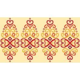 Wzór graficzny użytkowy - Pisanka – czerwona arabeska - Haft krzyżykowy