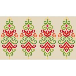 Wzór graficzny użytkowy - Pisanka – kolorowa arabeska - Haft krzyżykowy
