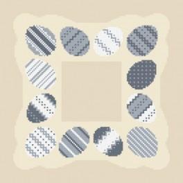 Wzór graficzny - Serewetka z pisankami - Haft krzyżykowy