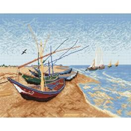 W 736 Wzór graficzny online - Barki na plaży - V. van Gogh