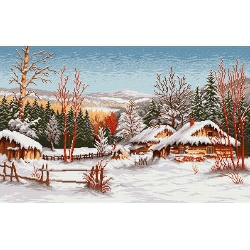 Wzór graficzny online - Chaty zimą - S. Sikora