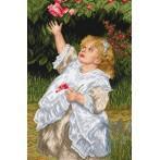 Wzór graficzny online - Dziewczynka w ogrodzie