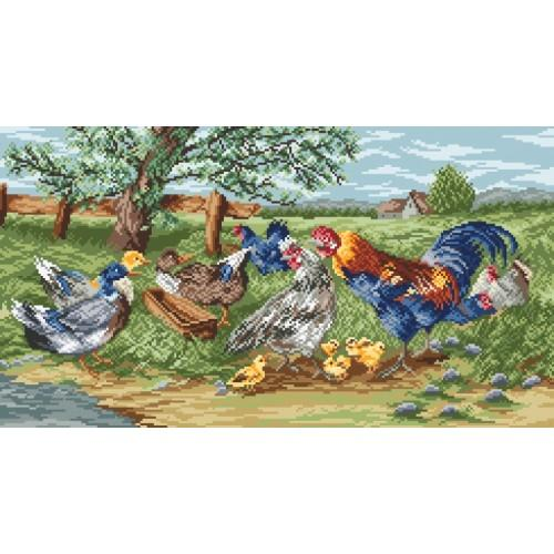Wzór graficzny online - Kogut i kury