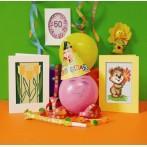 Wzór graficzny online - Kartka urodzinowa - Miś z kwiatkiem