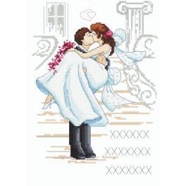 Wzór graficzny online - Ślubna pamiątka haft krzyżykowy