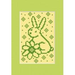 Wzór graficzny online - Kartka wielkanocna - Zajączek z kwiatkiem