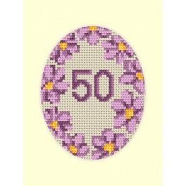 W 8423 Wzór graficzny online - Kartka urodzinowa - Fioletowe kwiaty