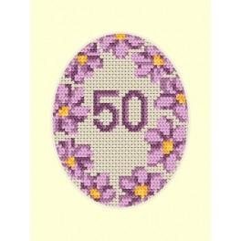 W 8423 Wzór graficzny ONLINE pdf - Kartka urodzinowa - Fioletowe kwiaty
