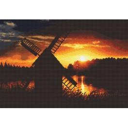 Wzór graficzny online - Zachód słońca z wiatrakiem