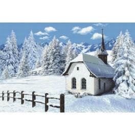 Wzór graficzny online - Kościółek zimą