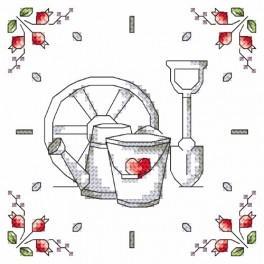 Wzór graficzny online - Zegar - Kwiaty z ogródka