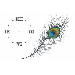 W 8702 Wzór graficzny online - Zegar z pawim piórem