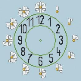 Wzór graficzny online - Zegar ze stokrotkami