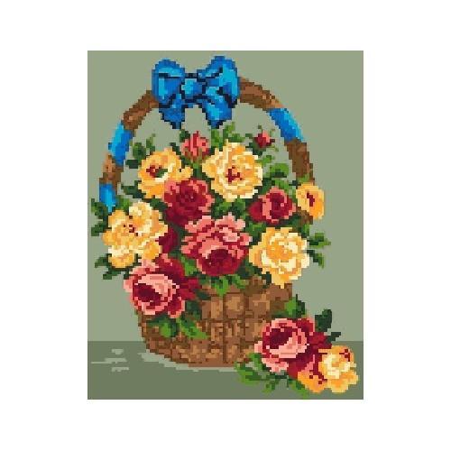 Kanwa z nadrukiem - Kosz z różami