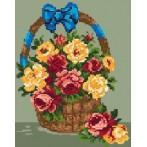 1063 Kanwa z nadrukiem - Kosz z różami