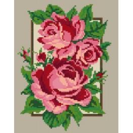 Kanwa z nadrukiem - Róże_w ramce