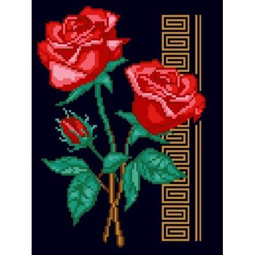 Kanwa z nadrukiem - Czerwone róże