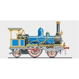 Kanwa z nadrukiem - Niebieska lokomotywa