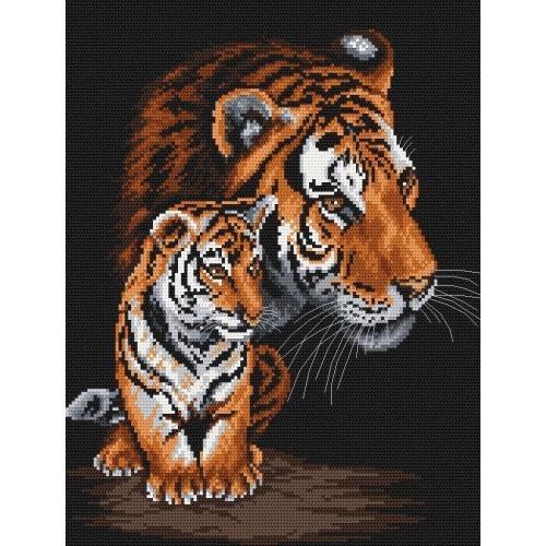 4096 Kanwa z nadrukiem - Dzikie koty - A. Songin