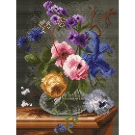 Kanwa z nadrukiem - Kwiaty w szklanym flakonie