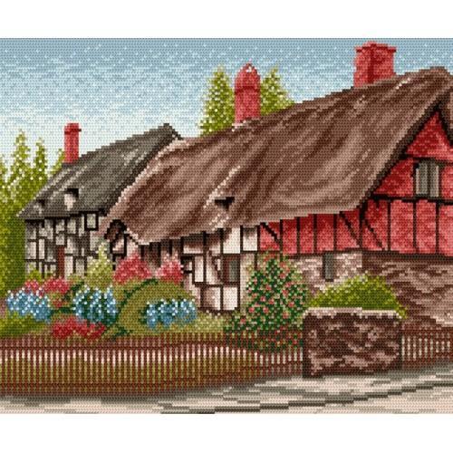 Kanwa z nadrukiem - Domek z ogródkiem