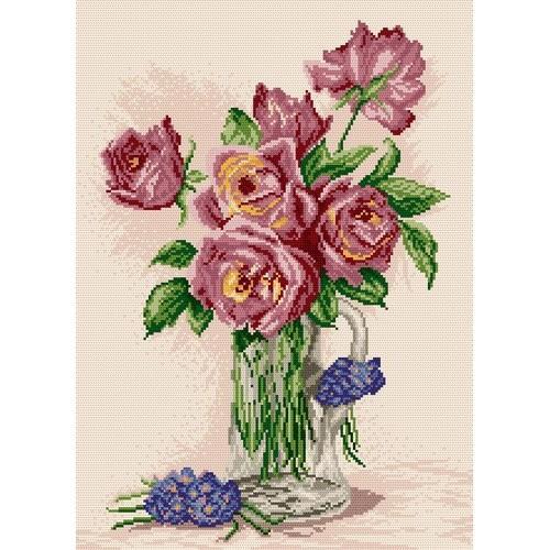 Kanwa z nadrukiem - Róże w wazonie