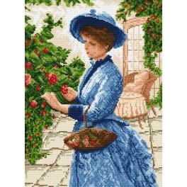 4078 Kanwa z nadrukiem - Dama zbierająca kwiaty